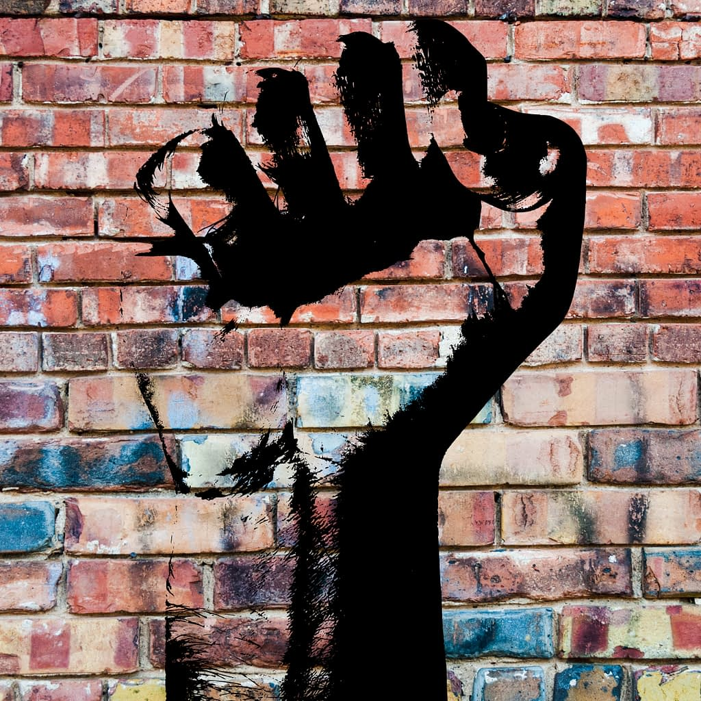mural of resist hand symbol